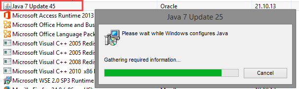 Uninstalling Java 7 update 45