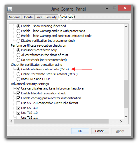 Java Advabced  Check for certificate revocation using  settings group