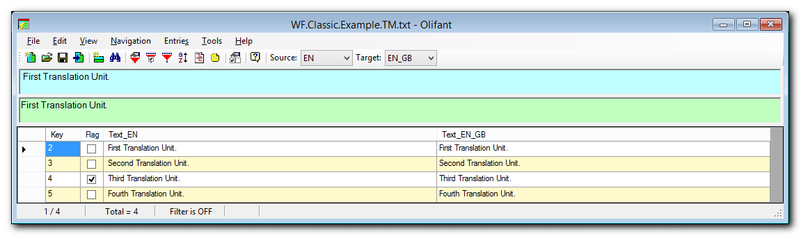 WordFast Legacy .txt Translation Memory opened in Olifant