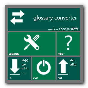 The main windows of the Glossary Converter application, available for SDL Studio