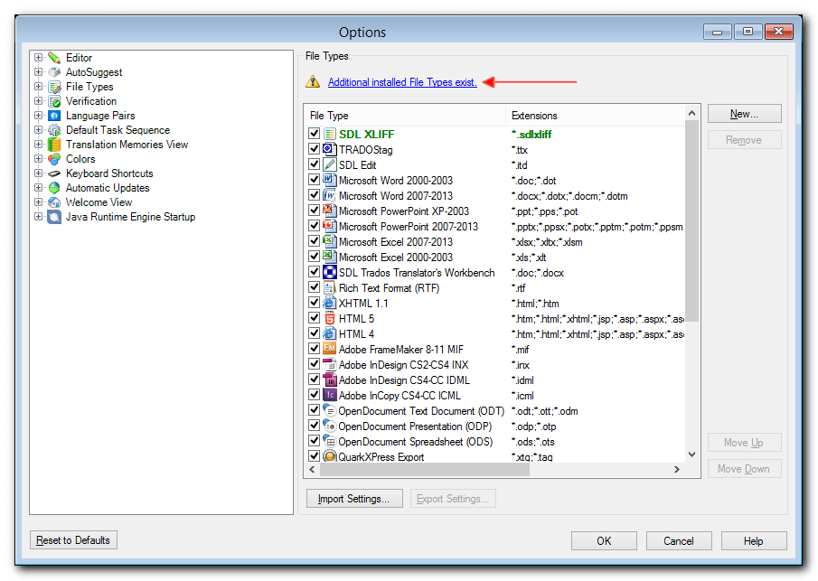 SDL Studio 2014 file list, with the message Additional File Types Installed