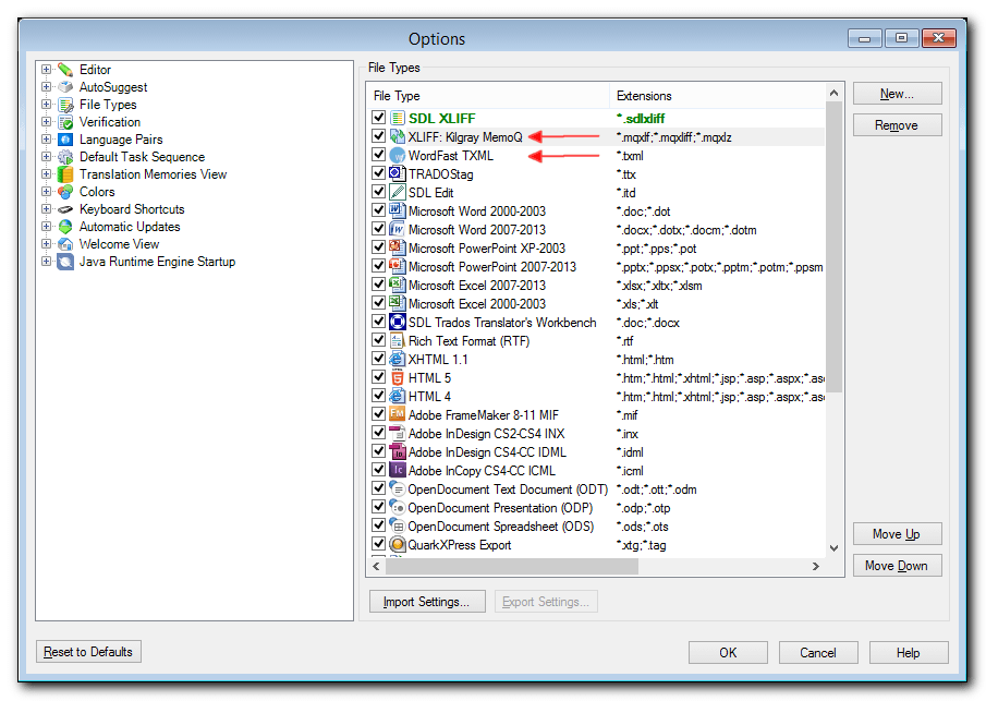 The WordFast TXML and MemoQ XLIFF file types in SDL Studio 2014 File Types list