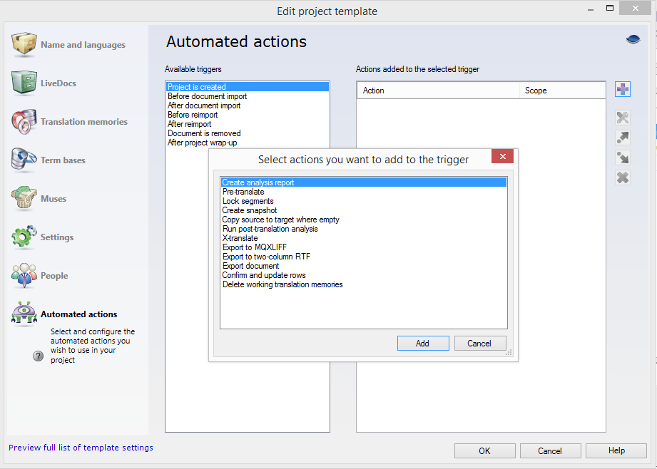 memoQ 2014 project template automated actions option