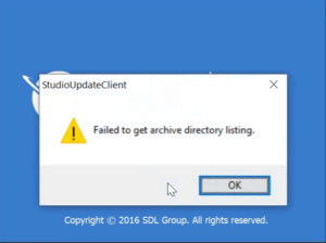 SDL Studio 2017 'StudioUpdateClient' Failed to get archive directory listing message