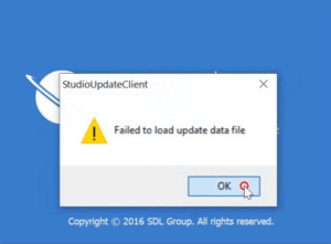 SDL Studio 2017 'StudioUpdateClient' Failed to load update data message