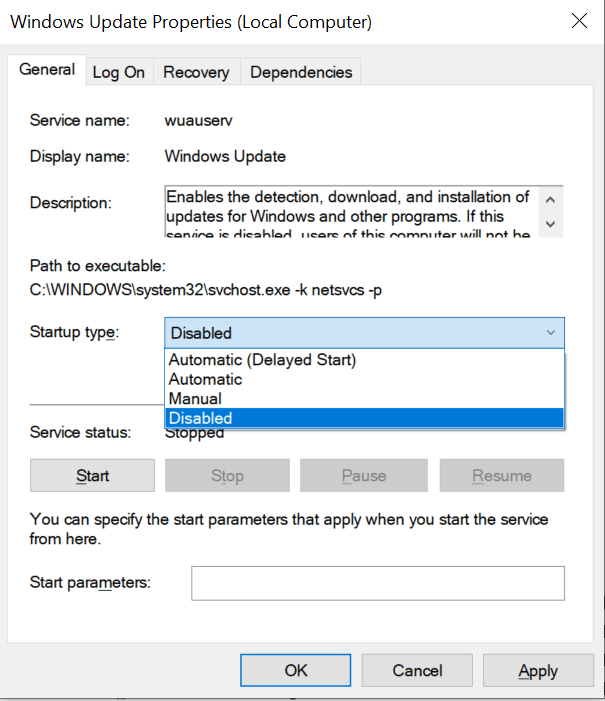 Disabling the Windows Update service through services.msc